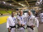 Guld i Europa Taikai, från vänster; Anders Magnuson, Alexander Tilly, Viktor Karlholm