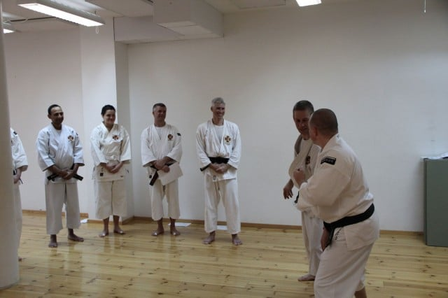 Steve-sensei is teaching and everybody smiles and appreciate the teaching