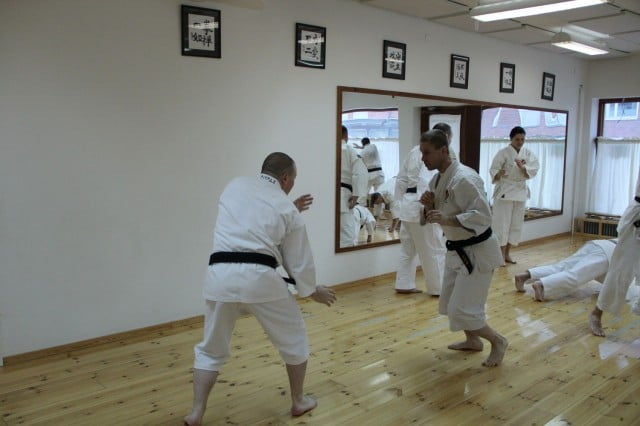 Light warming up randori, Steve-sensei and ke-sensei