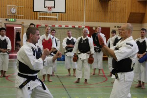 Åke-sensei teaches exercises with mits