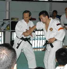 Makino-sensei teaching at a koshukai at hombu