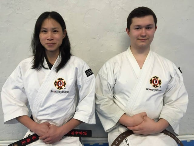 Shangchi and Fredrik after their successful grading.