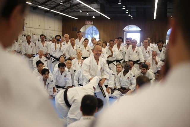 Många av de stora mästarna undervisade under träningen, här Arai sensei.