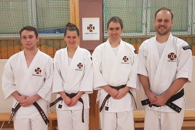 From the left; Rickard, Alva, Christer and Peter after they had passed their grading test.