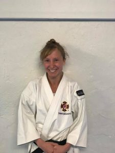 Lotta Wersäll after her successful grading to sandan (3 dan) chūkenshi.